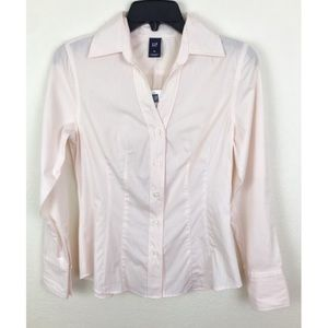 NWT Gap Striped V Neck Button Down Shirt